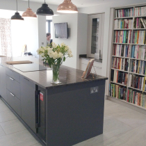 Contemporary Flat Gloss Laser Edged with Granite Worktops